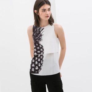 Zara Pineapple Tiered Tank Top Black & White